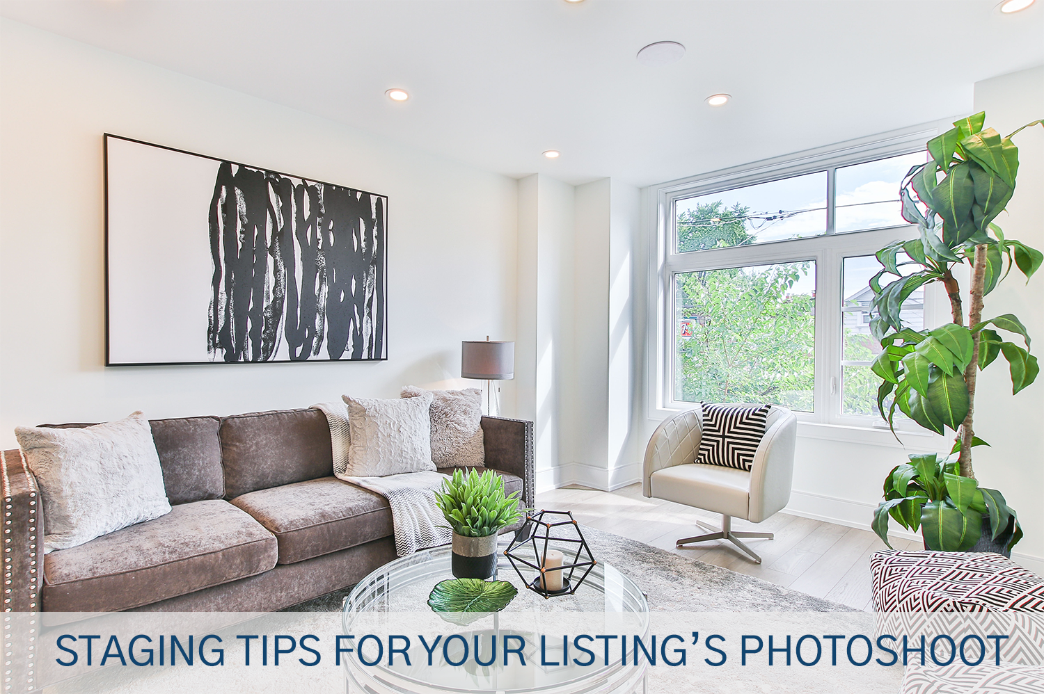 A living room utilizing the staging tips Exclusive Edge Media provided.